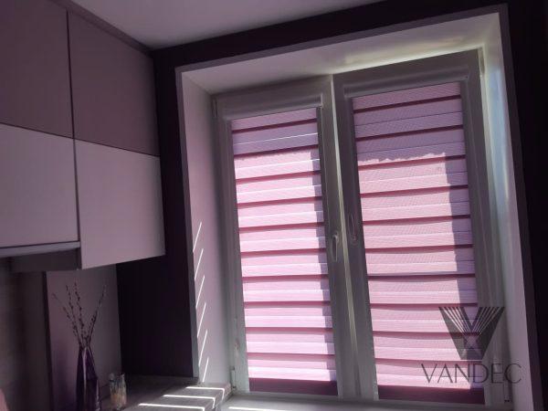 Рулонная штора в системе UNI2 из ткани Зебра Стандарт лиловый - ул.Поклонная