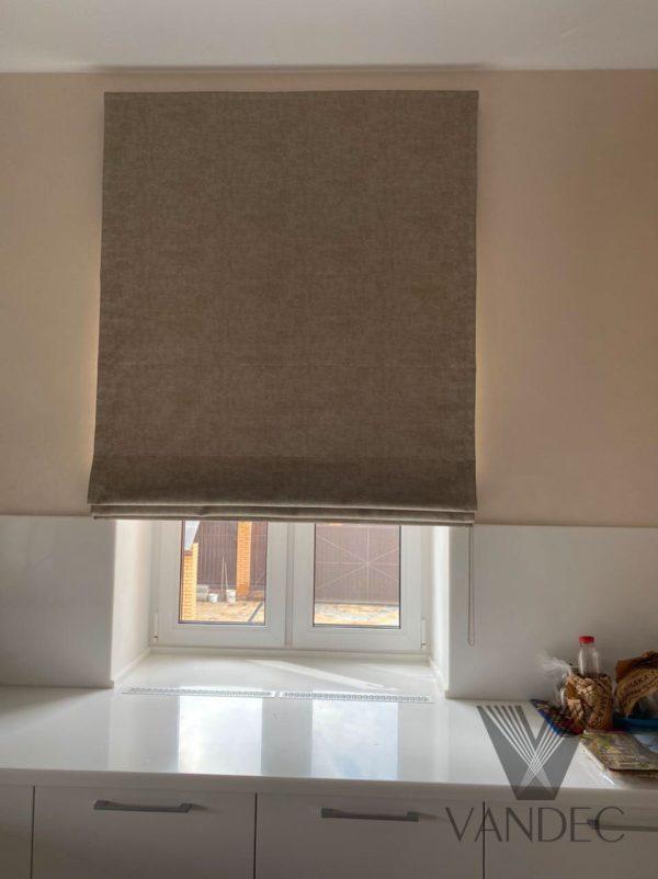 Римские шторы с принтом под декоративную штукатурку из ткани от европейского бренда Espocada коллекция Comfort - Серпуховской район, деревня Старые Кузьменки.
